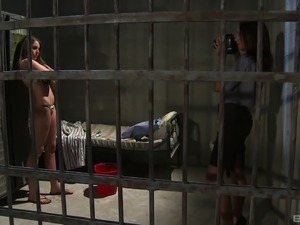 Pussy eating in prison with seductive Lauryn May and another stunner