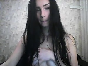 Busty brunette babe rubs her self to an intense solo orgasm