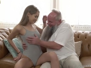 Lewd grey haired bearded old man is still able to please fresh cunt of...