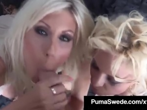 Euro Babes, Puma Swede & Bobbi Eden Give A Double BlowJob!