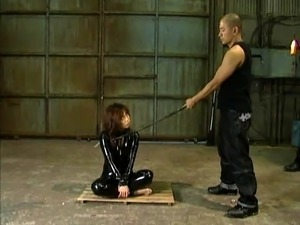 Submissive Asian milf gets tied up, fucked and creampied