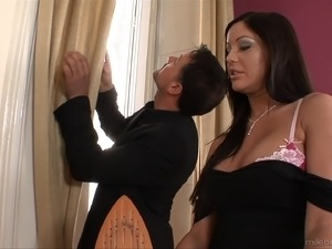 A hot maid gets her ass oiled up and pounded by her boss