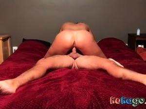 Chunky bitch rides for cum. Cowgirl. Girl on top.