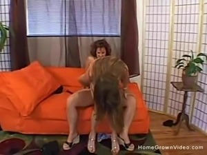 Two petite lesbian milfs in homemade video