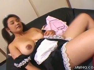 Hairy pussy of pigtailed Japanese maid Yui Tokui gets poked mish