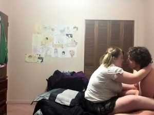 Chubby blonde teen with pigtails loves to take it doggystyle