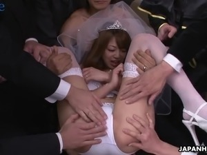 Future Japanese bride Mirei Oomori blows the dicks of her groom's friends