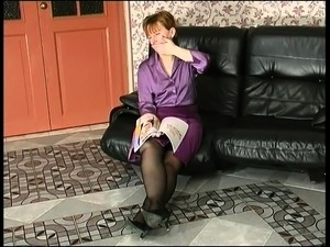 Sultry mature lady in stockings can't resist a young cock