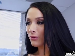 Lusty big breasted babe Katrina Jade lures office clerk for some random fuck