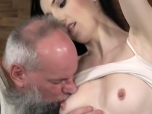 Greasy old fart cant control his loaded boner