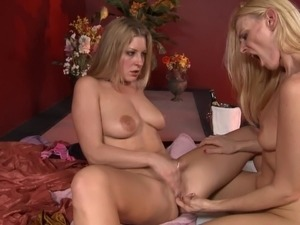 Skinny lesbian cougar with big beautiful tits getting her hairy pussy licked