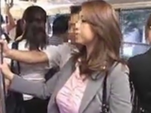 Sexy Japanese babe getting her ass touched in the public bus