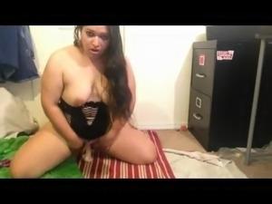 Nympho Fat BBW Latina masturbating and spreading her Pussy