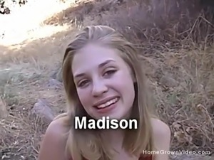 Young blonde amateur sucking a big cock outside