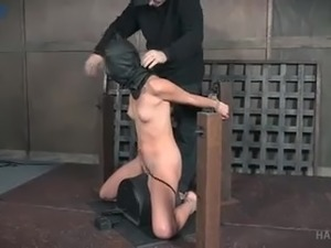 Bent over and tied up submissive whore Zoey Laine gets treated hard