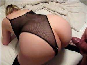 Slutty blonde wife gets cum on her ass