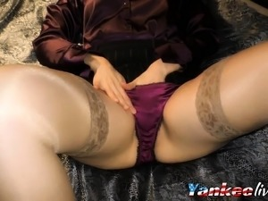 Double satin blouse and satin panty play masturbation