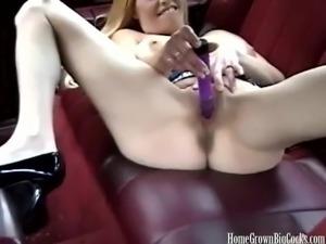 Big tit blonde masturbates then sucks a big cock