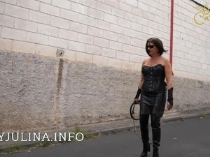 Mature Smoking Mistress Public Walking Leather Boots Whip