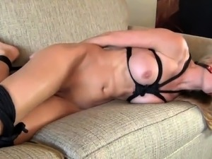 Helpless blonde milf with big tits pleases her fiery holes