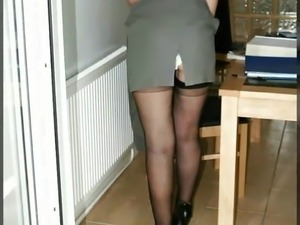 Sexy mature secretary fucked hard in pussy and ass
