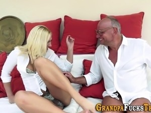 Blonde fucking old man