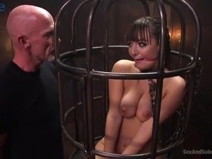 Locked in the cafe submissive whore Charlotte Cross has to suck stiff dick
