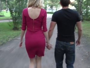 Lascivious blonde in pink dress likes it from behind