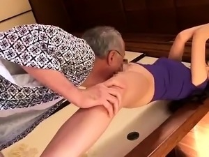 Slender Japanese wife enjoys wild sex with a horny old man