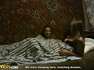 Two brunettes sharing one bed and lucky dude