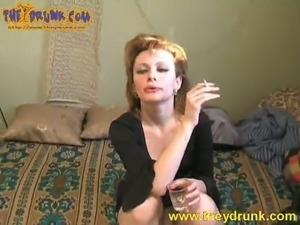 Slender and cute whore Isolda in drunk erotic video
