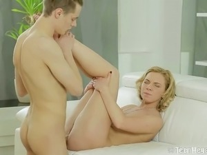 Dirty blond haired slut had steamy mish style fuck with her boy on sofa