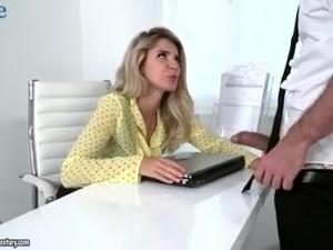 Really horny blonde secretary Mary Kalisy is so into some office sex