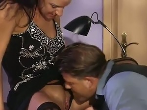 Spoiled secretary is fucking doggy style in the office