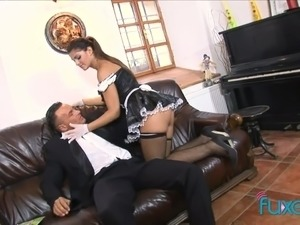 Horny tall and sexy maid gets her anus brutally nailed by lewd host