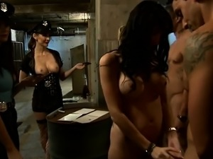 Couples foursome in jail cell while the wardens watch