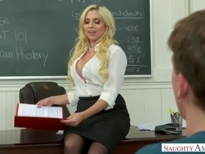Fantastic curvaceous prof Christie Stevens gets bent over and fucked hard