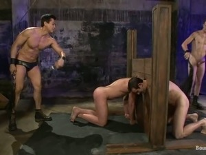Two gays get chained and fucked by their dominant buddies