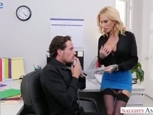 Naughty seductive secretary Sarah Jessie is good at topping her boss