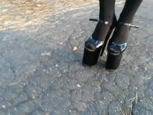 Lady L walking with 20cm extreme high heels