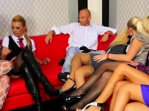 Hung stud fucks all the beauties at an sex party