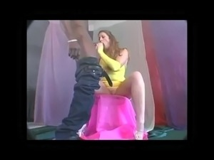 Shanna and mandingo handjob yellow gloves