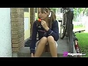 Little Titty Andi Pink Licks Popsicle &amp_ Shows Pussy!