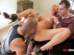 White boyfriend watches his girl fuck a gigantic black cock