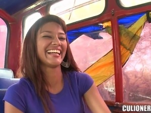 Liz Paola enjoys licking and riding a cock in a bus