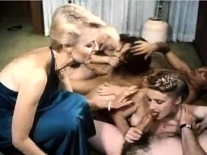 Vintage blonde in stockings hot foursome