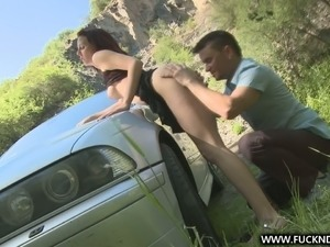 Red haired girlfriend sucks big cock in the forest and gets rammed on a car hood