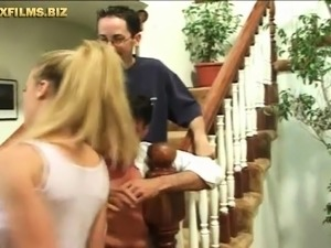 Cuckold treesome - sex on stairs